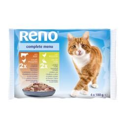 Kapsičky pro kočky hovězí drůbež ryba 4x100g RENO
