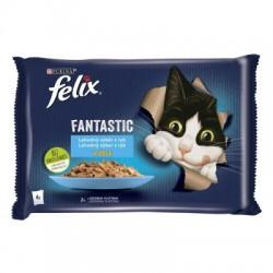 Kapsičky pro kočky s lososem a platýzem v želé FELIX 4x85g