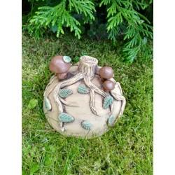 Půlkruh s houbami keramický