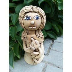 Panenka s kočkou keramická