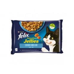 Kapsičky pro kočky losos a treska s rajčaty v želé FELIX 4x85g