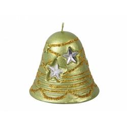 Svíčka vánoční - zvonek s hvězdami 8,5x5cm metalický